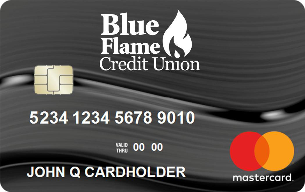 Dark gray Blue Flame Credit Union Mastercard