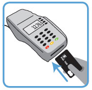 insert card into credit card terminal
