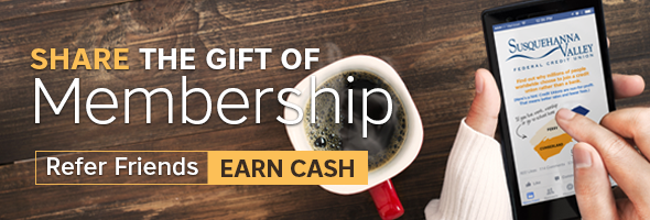 Share the Gift of Membership. Refer Friends. Earn Cash. Woman using SVFCU mobile app.
